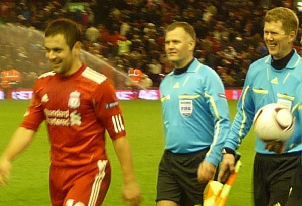 Ingvar Gudfinnsson (right) after his last international match at Anfield Road.