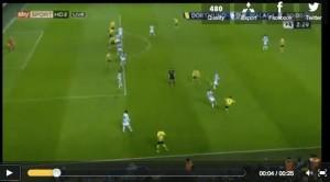 Screenshot of SkySports tv: offside situation at Dortmund - Malaga.