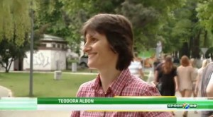Referee Teodora Albon, happy during tv interview after being appointed as Uefa Women's Champions League final referee.