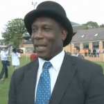 Screen shot of tv interview with Uriah Rennie after match with historic Sheffield Rules.