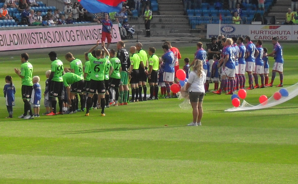 Referee and assistants show in Norway up in neon yellow shirts. He changed even before halftime after complaints.
