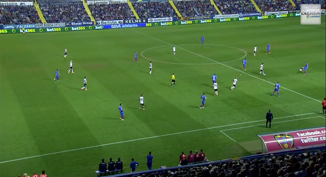 Offside rule: Levante attacker Ángel is in offside position at the moment the ball is passed.