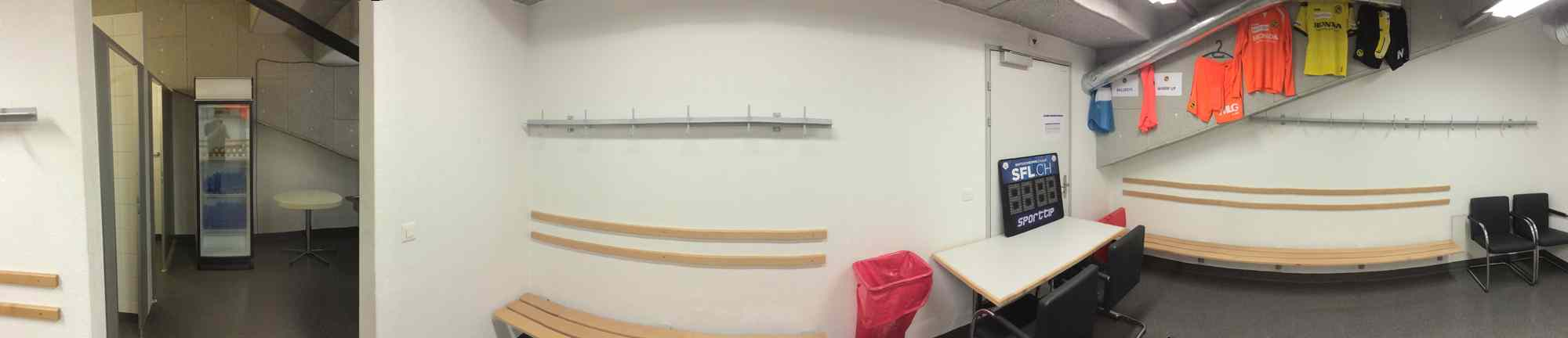 Stade de Suisse referee dressing room panorama.