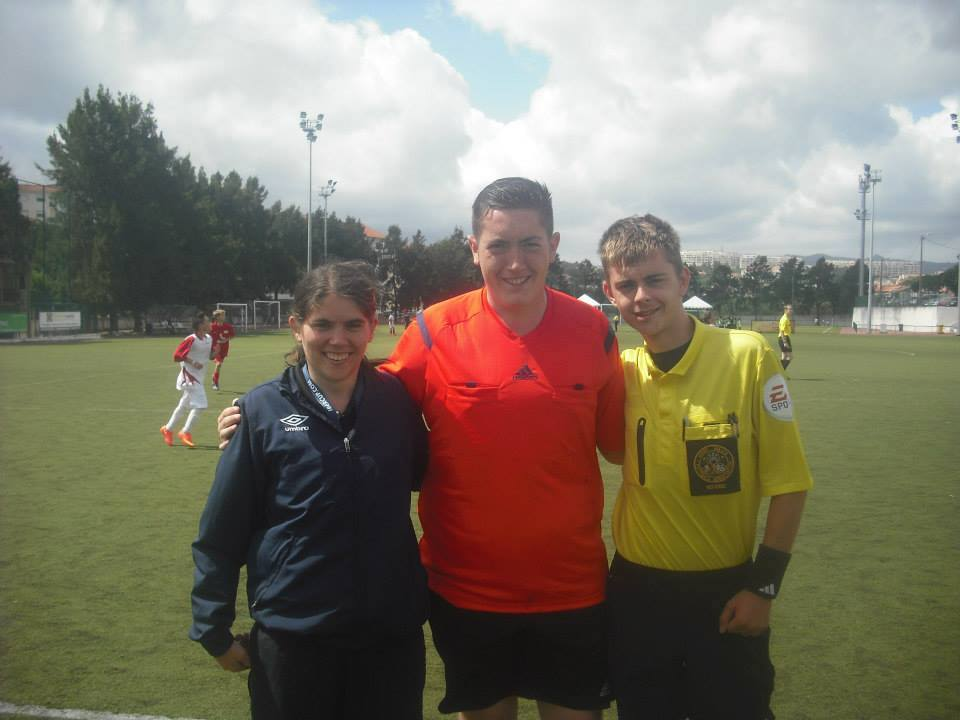 Aled Fellowes (right) with other Iber Cup referees in 2014