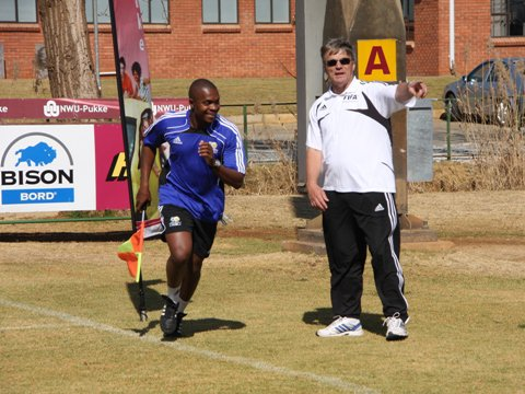 Zakhele Siwela in training as assistant referee
