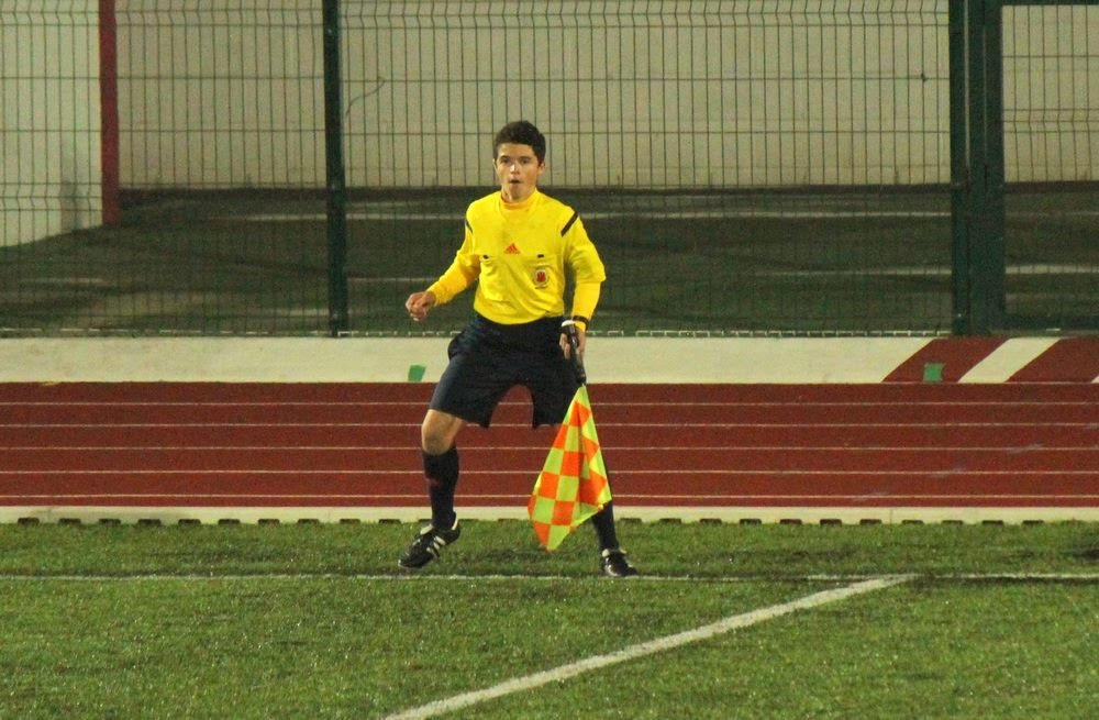 Assistant referee Seth Galia from Gibraltar.
