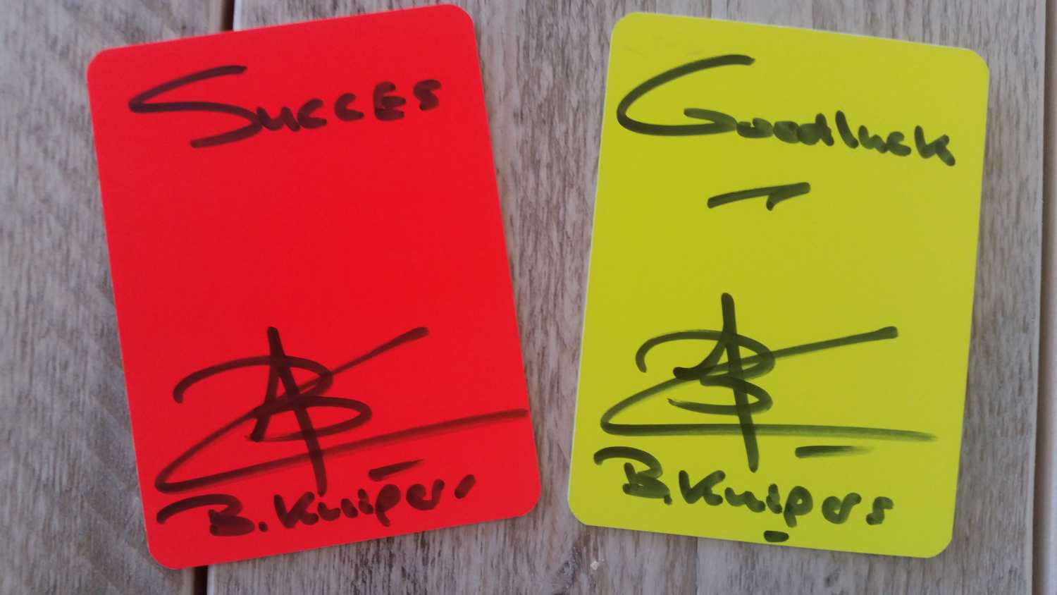 Signed cards by Bjorn Kuipers