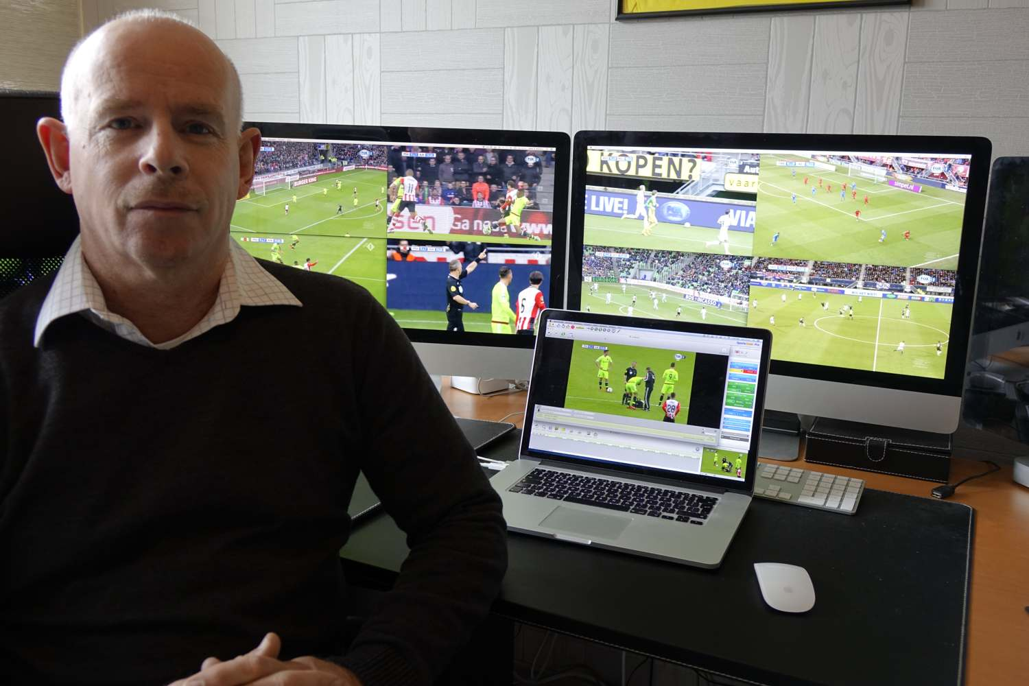 John Balvers making video analysis for referees