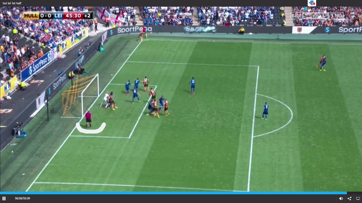 Positioning as referee with a corner kick.
