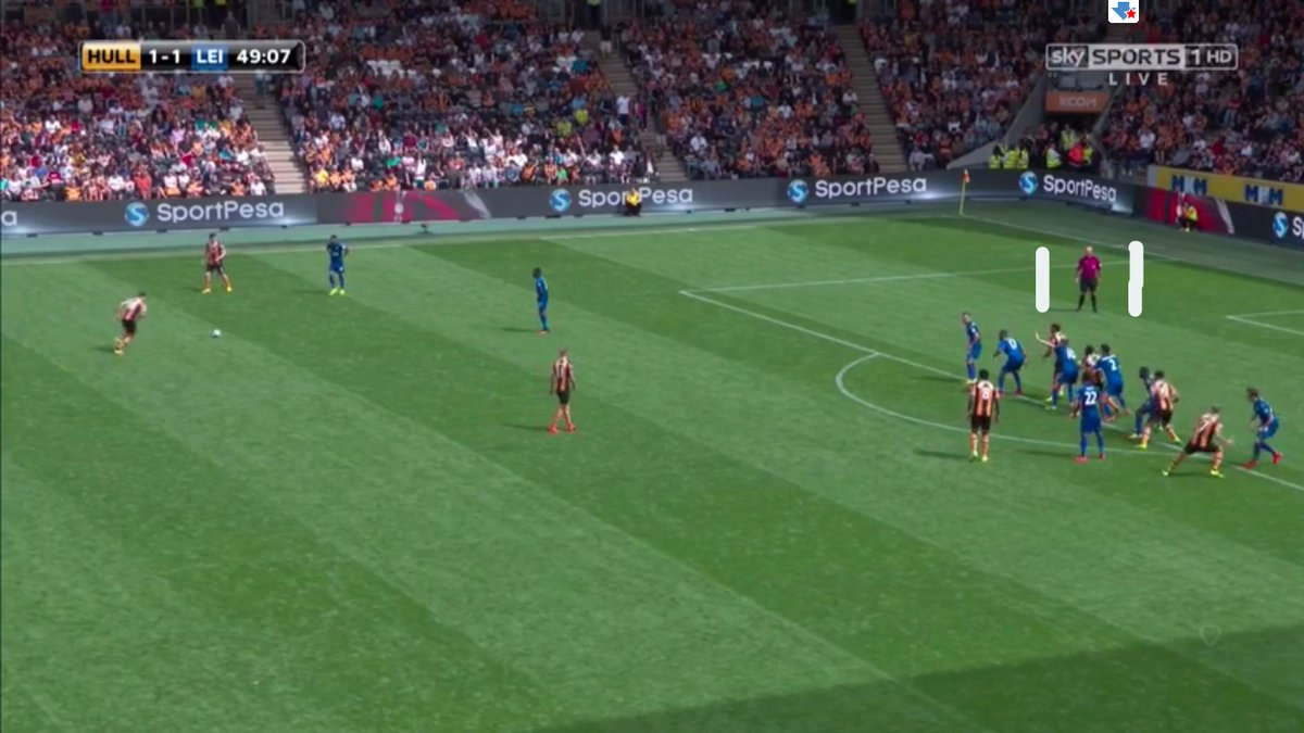 Mike Dean's positioning as referee with a free kick.