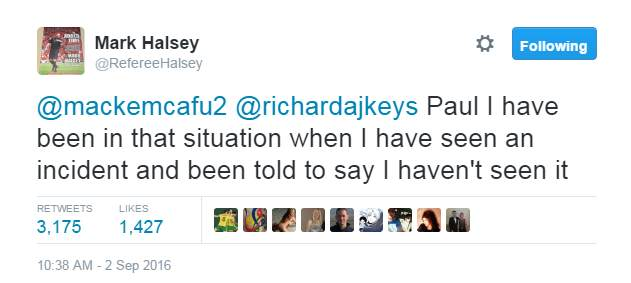 Tweet by Mark Halsey about lies by referees.