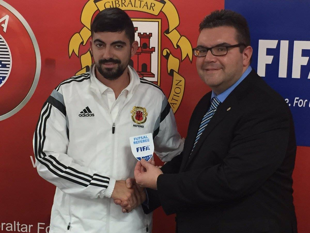Zyl Sheriff receiving his FIFA badge. Photo courtesy of Gibraltar FA