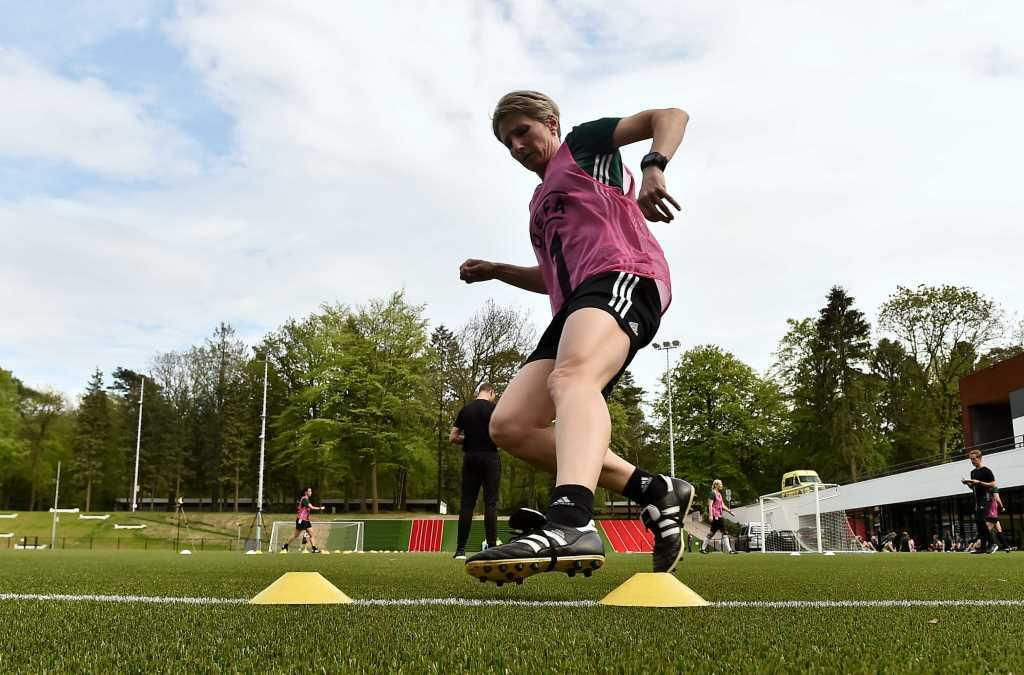 Dedication from referees during the fitness test at the UEFA Women's EURO Referee Course. Zeist, Holland. (Source of editorial photo: UEFA)