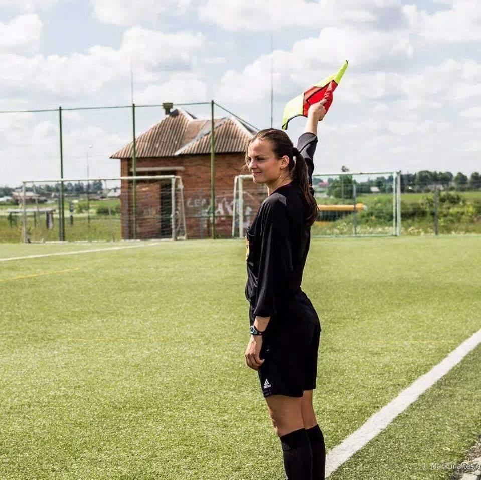 Ieva Ramanauskine on the line. Photo by Ieva Markunaite
