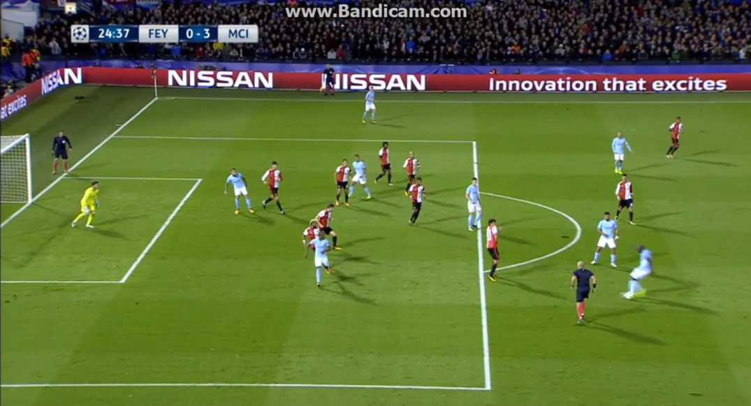 Wait and see technique at shot from Manchester City