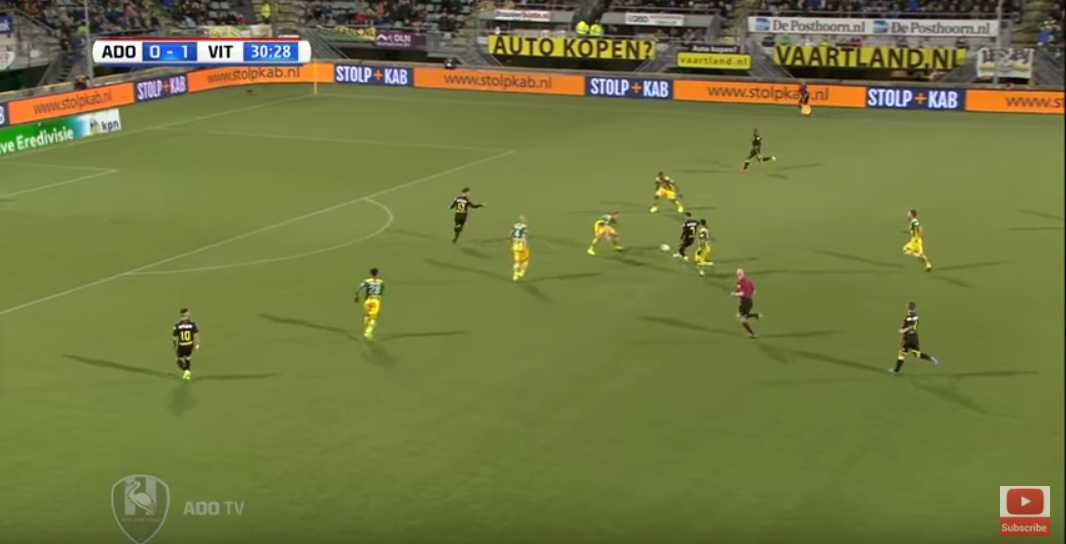 Van Wolfswinkel in offside position.