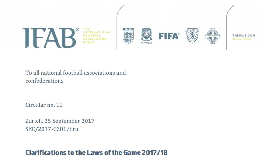 IFAB Clarifications Laws of the Game 2017-2018