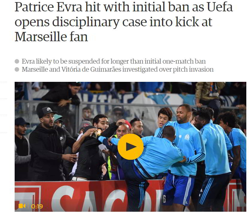 Disciplinary action against Evra by The Guardian