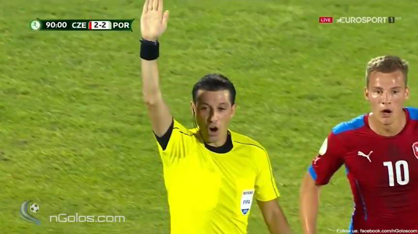 Referee Palabiyik signals for an indirect free kick