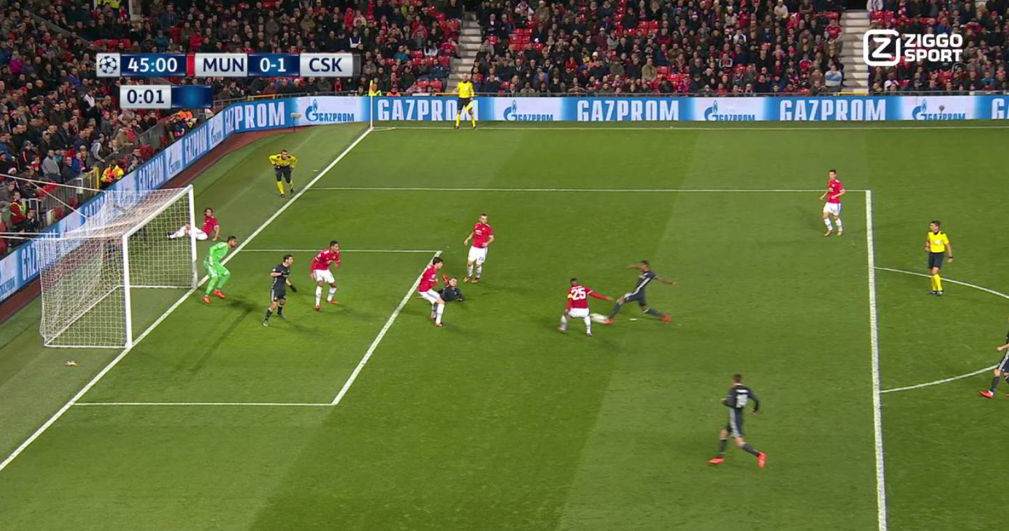 Offside situatuation where defender leaves the field of play