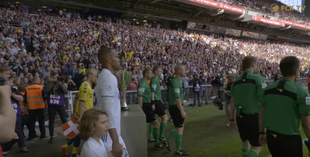 Jens Maae entering the field of play during the 2017 Danish cup final