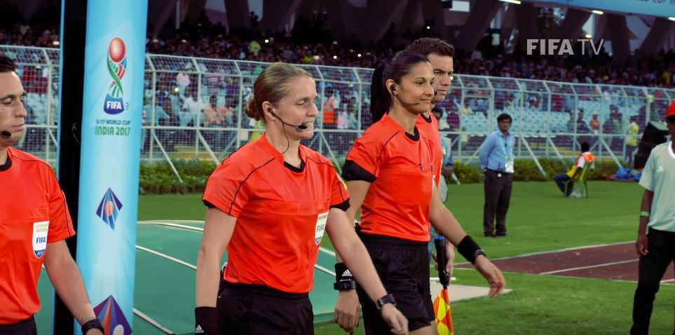 Esther Staubli referees at u19 World Cup in India