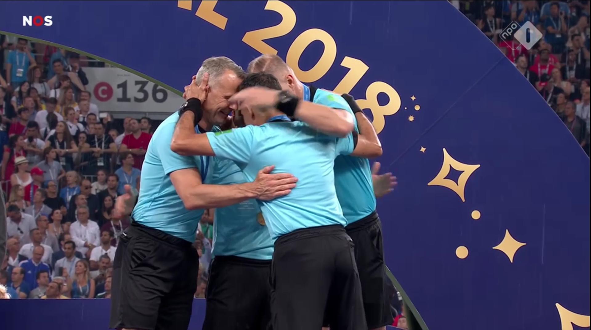 World Cup final referee Nestor Pitana team hug