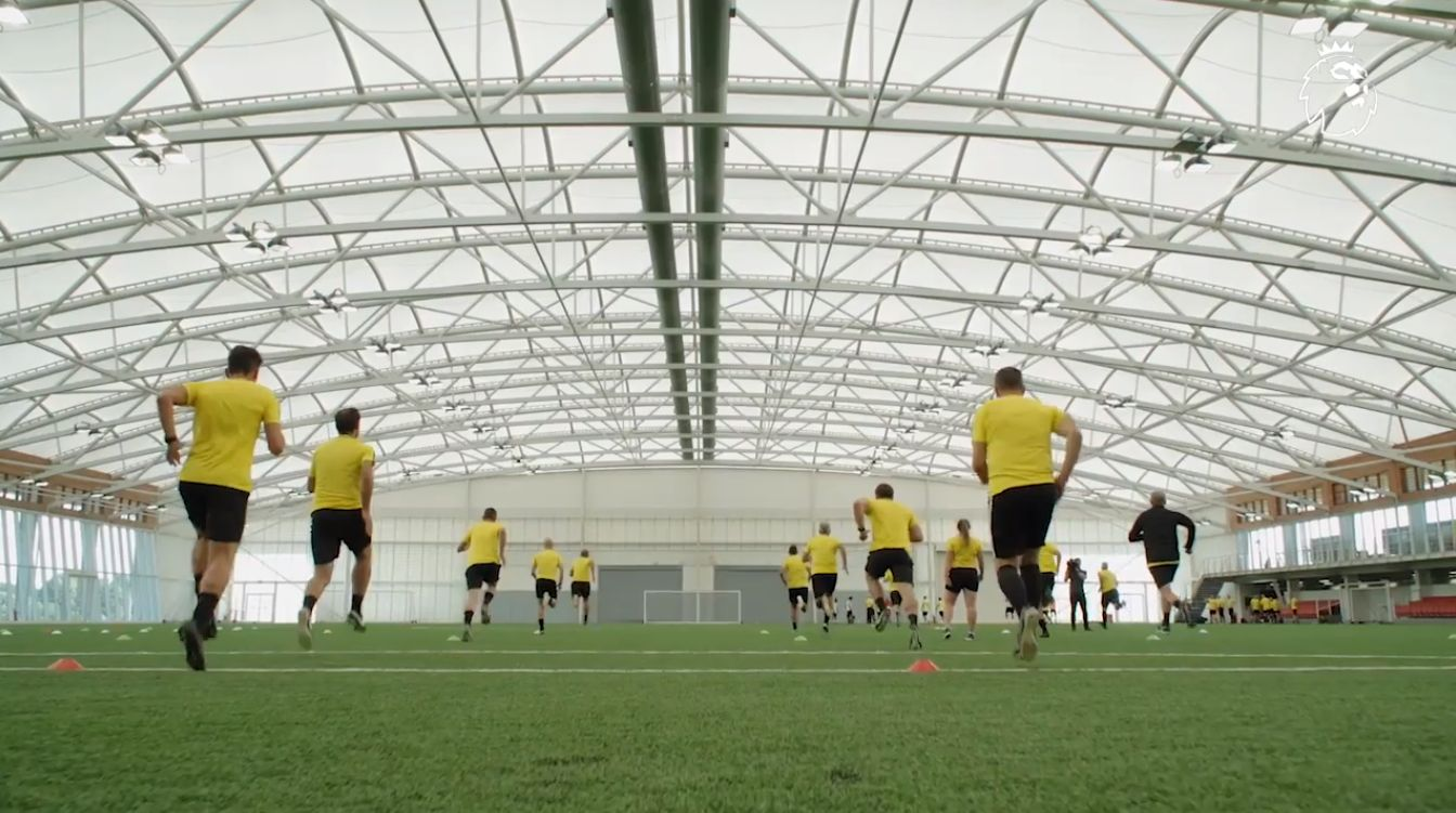 Premier League referees training at St. Georges Park.
