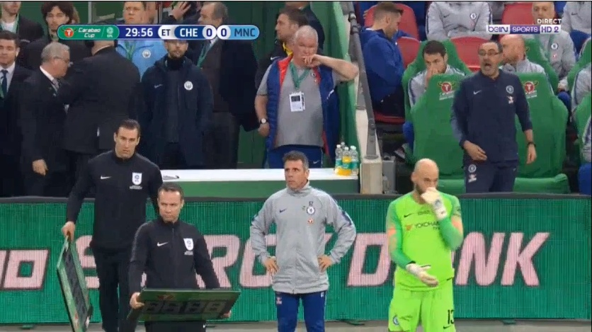 Willy Caballero waiting for the substitute
