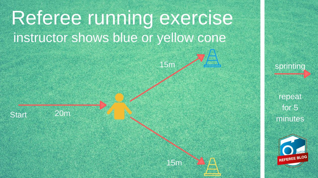 Playful fitness exercise where person changes direction when instructor shows a coloured cone